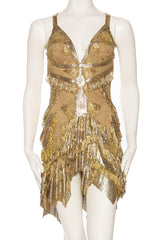 Morphew Antique Gold Lace and Metal Mesh Fringed Dress