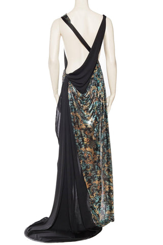 Morphew Collection Naked Draped Jersey And Metal Mesh Gown Dress