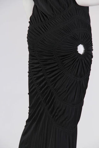 1990S JEAN PAUL GAULTIER Black Jersey Cocktail Dress With Spiral Ruching NWT