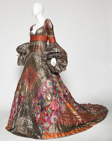 2000S JEAN LOUIS SCHERRER HAUTE COUTURE Gown In Antique Indian Metallic Silk With Crystals Dress