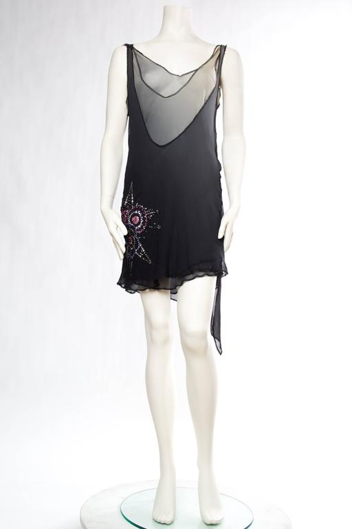 MORPHEW COLLECTION Grey Ombré Silk Chiffon Deconstructed Bias Flapper Style Cocktail Dress With Swarovski Crystals
