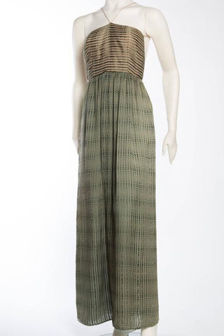 1970S Bill Blass Green Silk Gown