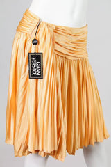 Vintage 1990's Versace Pale Yellow Pleated Skirt