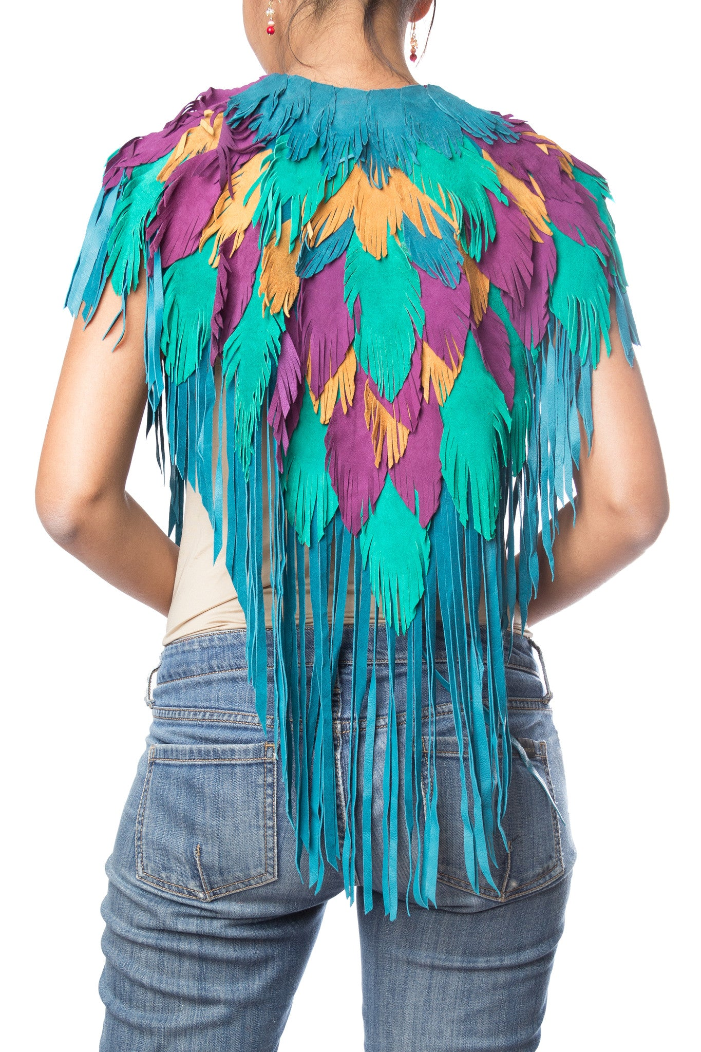 MORPHEW COLLECTION Purple Peacock Suede Feather Leather Cape