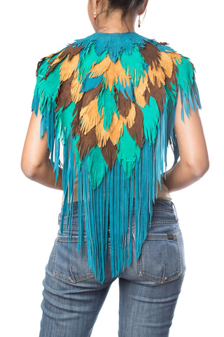 Peacock w/ Brown Feather Leather 1970s Inspired