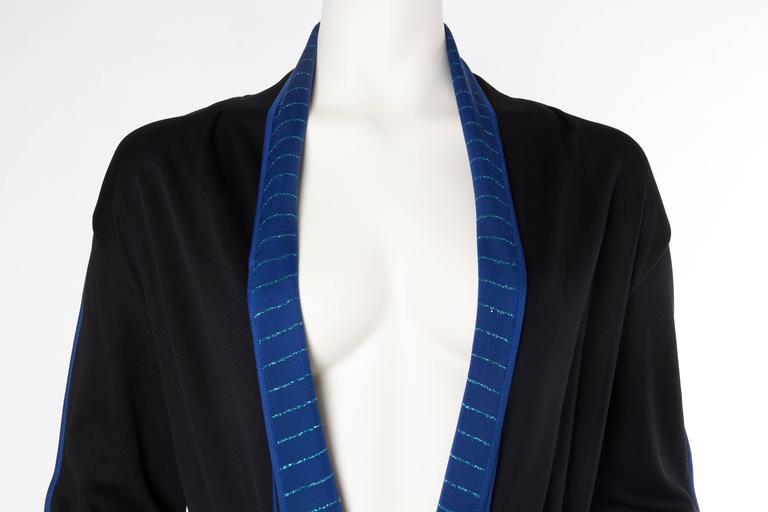 1970S ISSEY MIYAKE Black & Blue Knit Jersey Cardigan Belted Dress