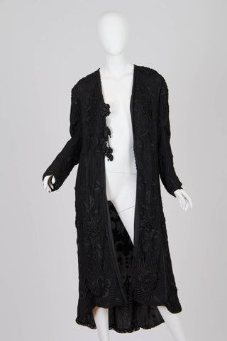 Edwardian Black Hand Embroidered Silk Net Long Duster