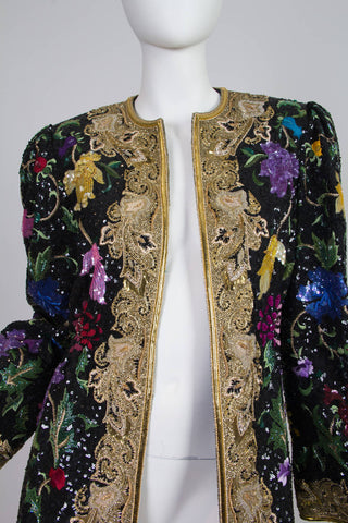 1980S MICHAEL NOVARESE Black Haute Couture Silk Taffeta Duster Covered In Exceptional Embroidery & Beaded Gold Work