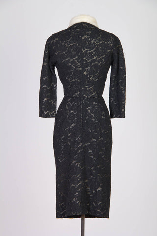 1950S PIERRE BALMAIN Black & White Haute Couture Silk Lace Cocktail Dress Jacket With Mink Collar