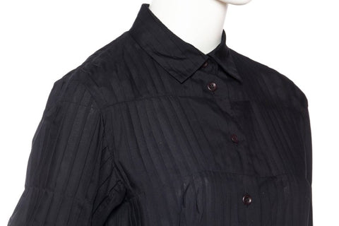 1990S ISSEY MIYAKE Black Polyester Voile Pleated Blouse