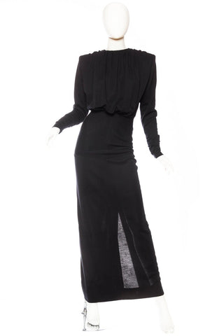 JAMES GALANOS Black Wool Jersey Powerful Shoulder Gown With Sleeves