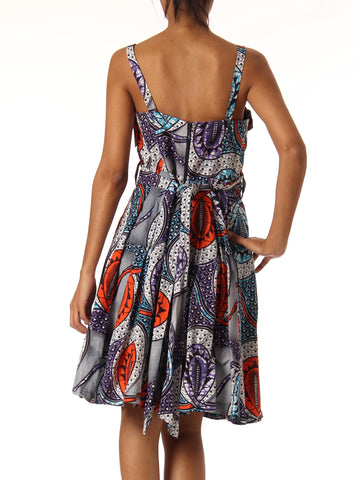 1960S African Batik Printed Cotton Dress With Appliqué Bodice
