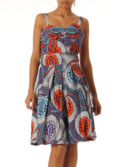 1960 African Batik Painted Mini Strappy Dress with Interesting Neckline