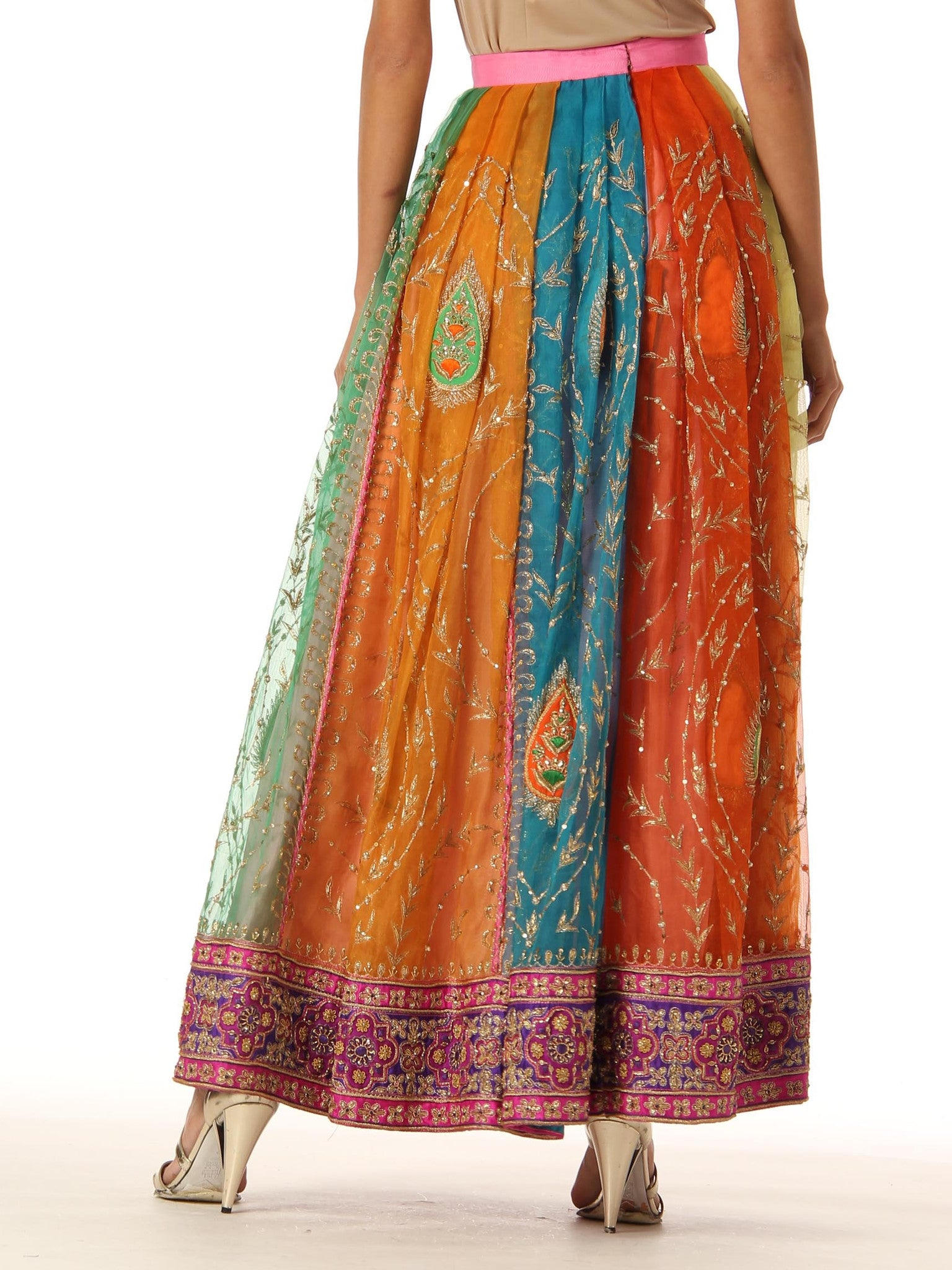 1970S Multicolor Hand Embroidered Silk Organza Indian Paisley Pleated Long Skirt With Sequin And Pearl Embellishments