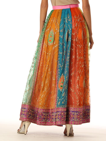 1970S Chiffon Indian Paisley Lame Hand Embroidered Multicolor Pleated Long Skirt With Sequin And Pearl Embellishments