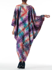 1970s Ethnic Embroidered Tie Dye Batik Poncho Kaftan Dress