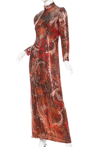 1970S Red & Brown Wool Psychedelic Floral Anne Fogarty Sequined Sleeved Gown