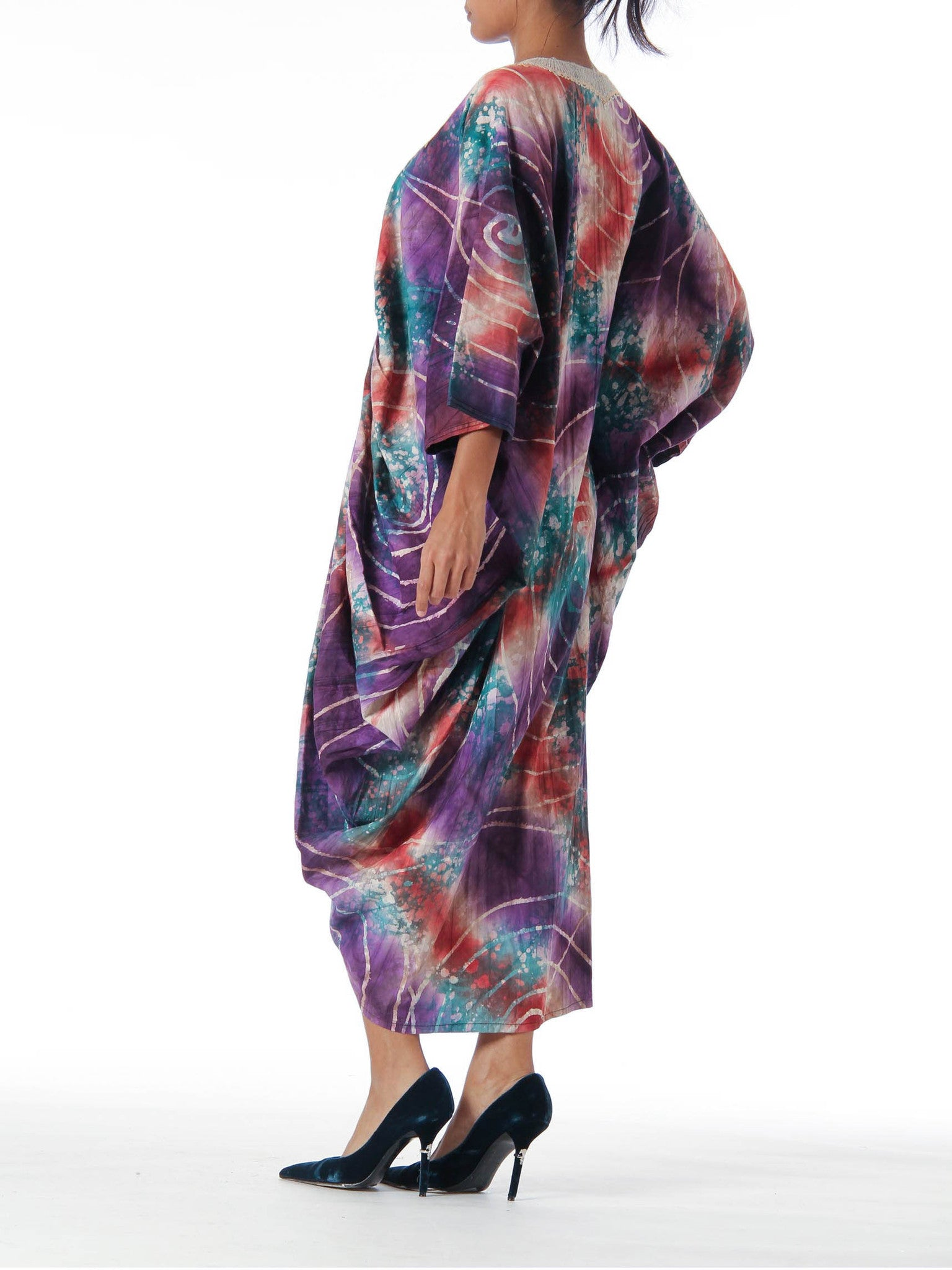 1970S Pink & Purple Cotton Ethnic Embroidered Tie Dye Batik Poncho Kaftan
