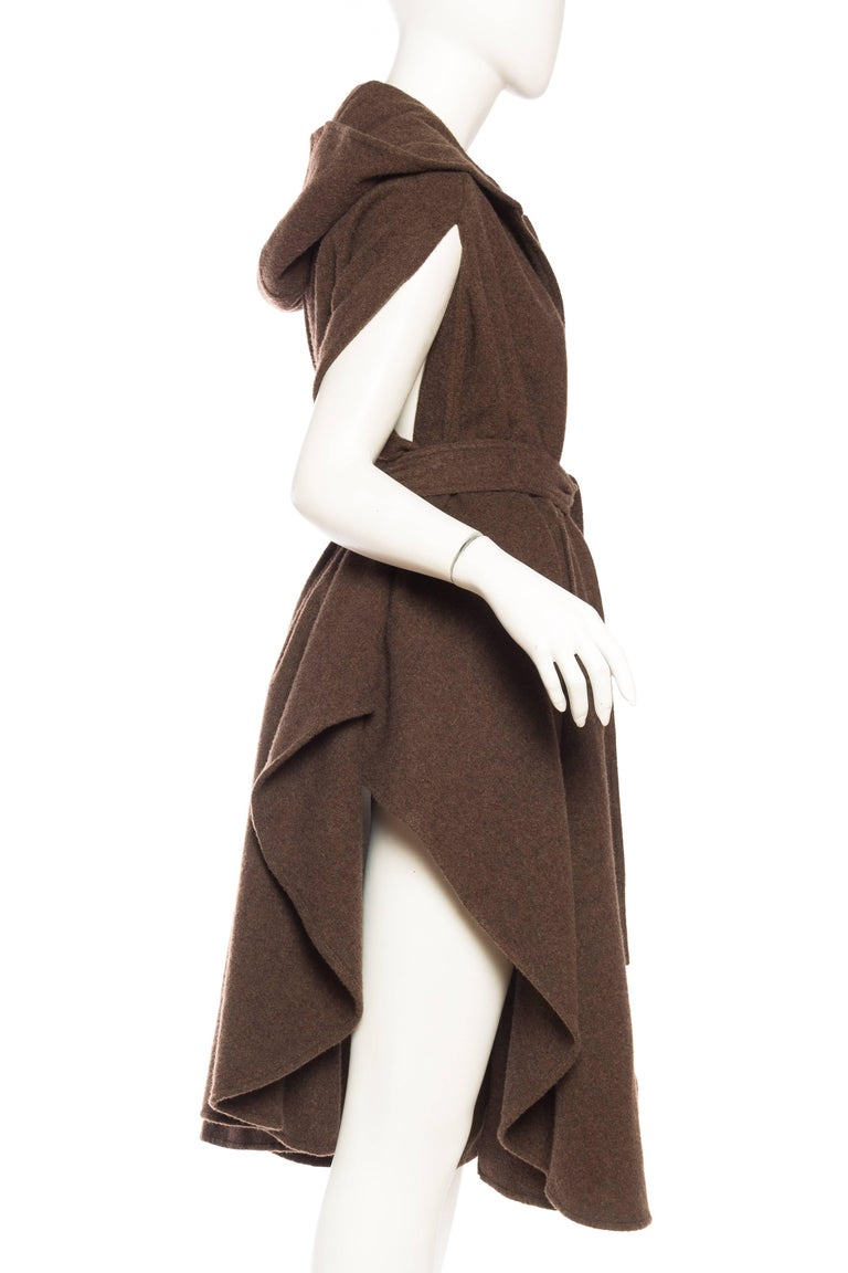 1980S Brown Wool Hooded Cape With Belt