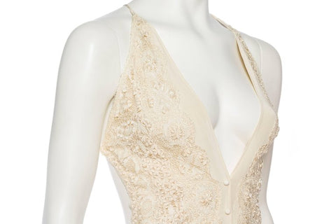 Morphew Collection Ivory Backless Dress Made Of Hand Victorian Silk Lace And 1930S Floral Chiffon