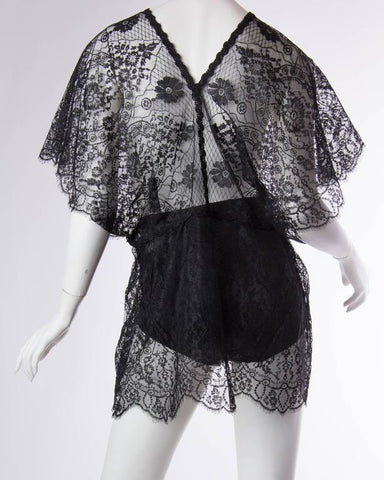 Morphew Collection Lace Black Sheer Tunic Kimono Sleeve Top Made Of Chantilly Edwardian