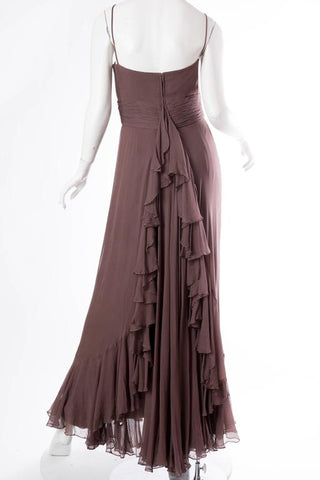 1970S MALCOLM STARR Chocolate Brown Silk Chiffon Boho Ruffled Gown