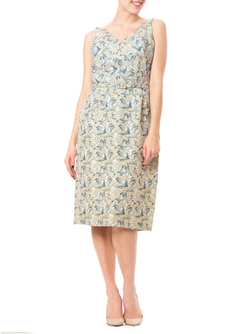 Delightful 1960's Vintage Mary Gallo Blue and Off-White Floral Jacquard Print Dress