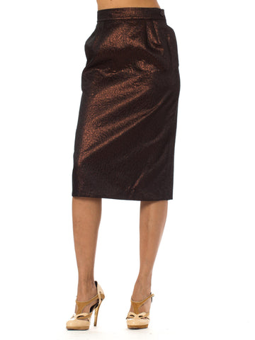 Exquisite 1980's Vintage Yves Saint Laurent Deep Bronze Lame Pleated Pencil Skirt