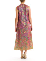 1960s Vintage Purple Multicolor Floral Print Jacquard Dress