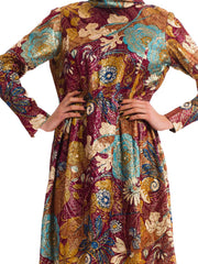 1960s Vintage Metallic Floral Print Dress