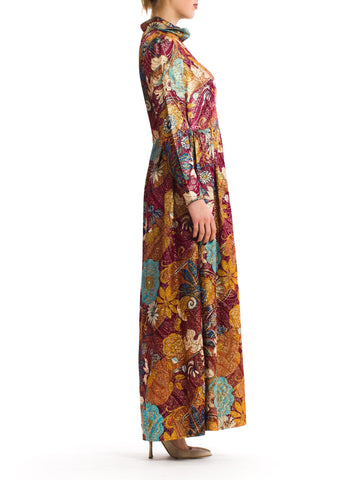 1970S Burgundy & Gold Acetate/Lurex Matelassé Lamé Loose Cut Evening Dress
