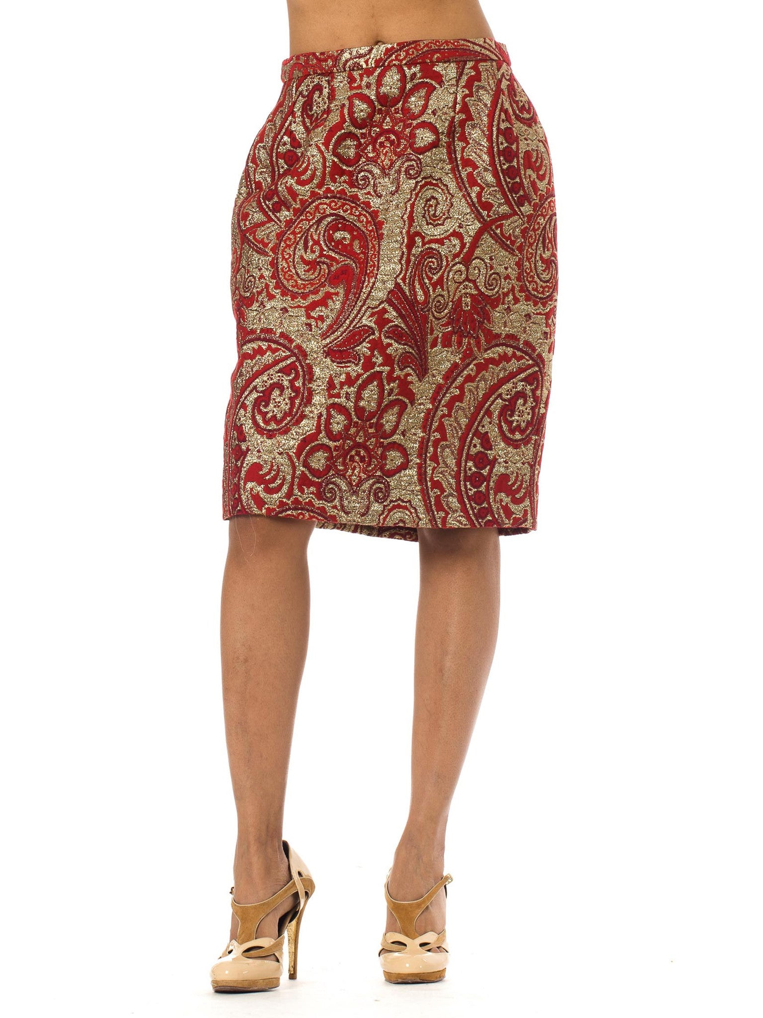 1980's Guy Laroche Montaigne Red and Gold Jacquard Pencil Skirt