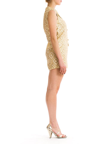 Vintage 1960s Gold and White Jacquard Dress