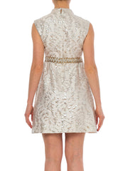 1960s Jacquard Mod Silver Sparkling Sequined Waist Mini Cocktail Dress