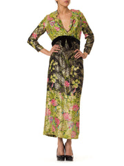 1970s Lux Boho Printed Gold Maxi Dress
