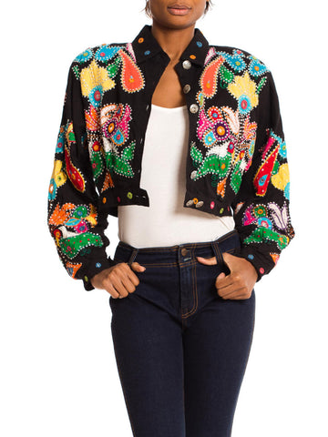 1980s Fly Girl Indian Embroidered Jacket with Mirrors