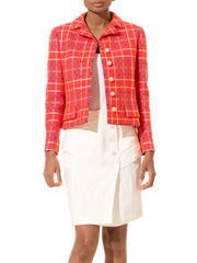 1960s Bright Orange Plaid Jacket