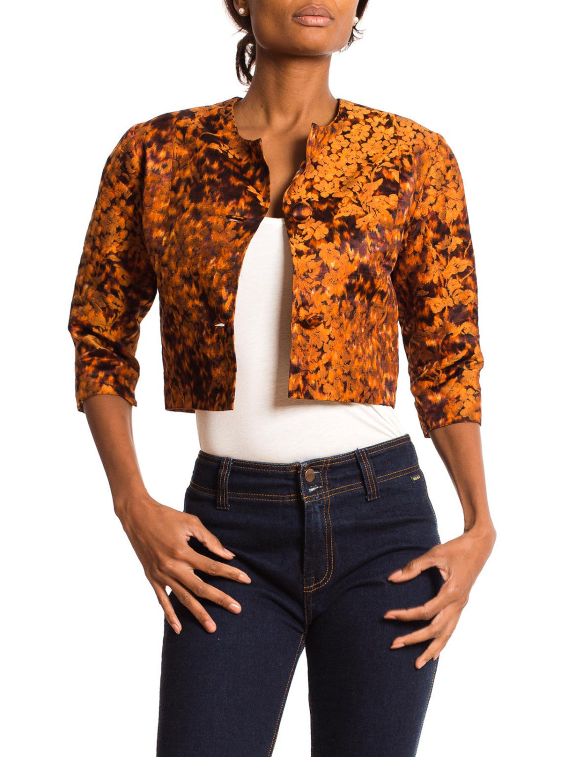 1950S Burnt Orange Silk Jacquard Hand Woven Ikat Floral Cropped Jacket