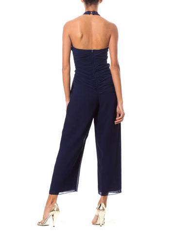 1970S Navy Blue Polyester Mousseline Halter Top Jumpsuit With Draped Waistline & Crystal Buckle