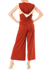 1970s Disco Palazzo Jumpsuit Two Color Hoodie Short Sleeve