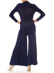 1970S Knit Disco Jumpsuit With Real Cut Crystals