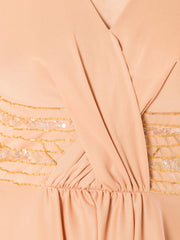 1970s Nude Disco Palazzo Jumpsuit Hand Beaded Top and Scarf