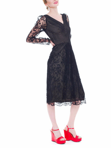 1980S BILL BLASS Black Silk Chiffon Pin Tucked & Pleated Cocktail Dress With Sheer Lace Sleeve Skirt
