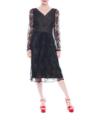 Black And Silver Bill Blass Lace Dress