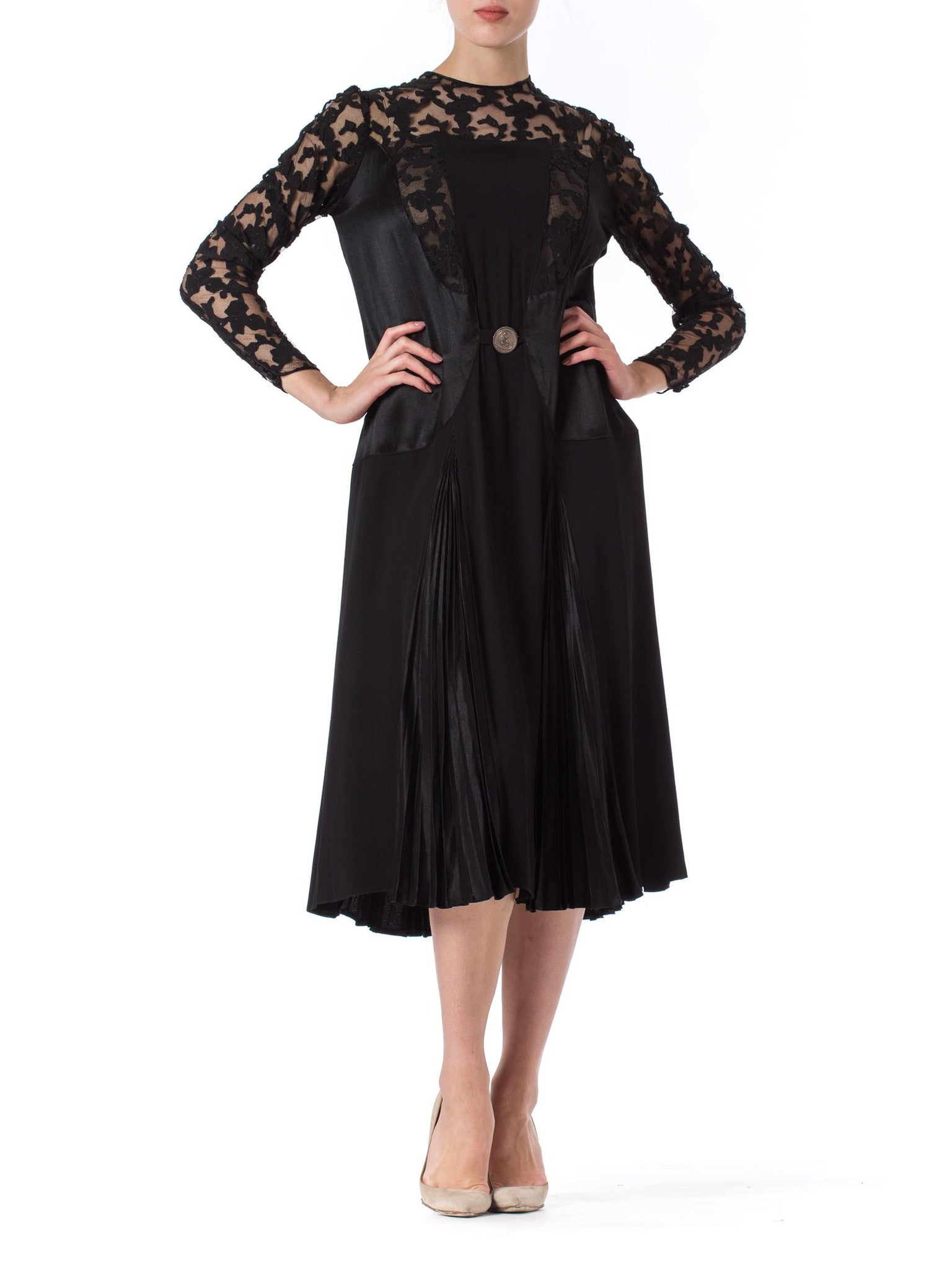 1920s Black Lace and Silk Pleated Detail Long Sleeve Dress