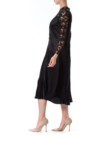 1920S Black Silk Crepe & Appliquéd Net Dress With Gorgeous Buckle Sleeves