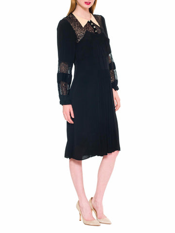 1930S Black Silk Faille & Lace Collared Dress With Sleeves Deco Glass Buttons