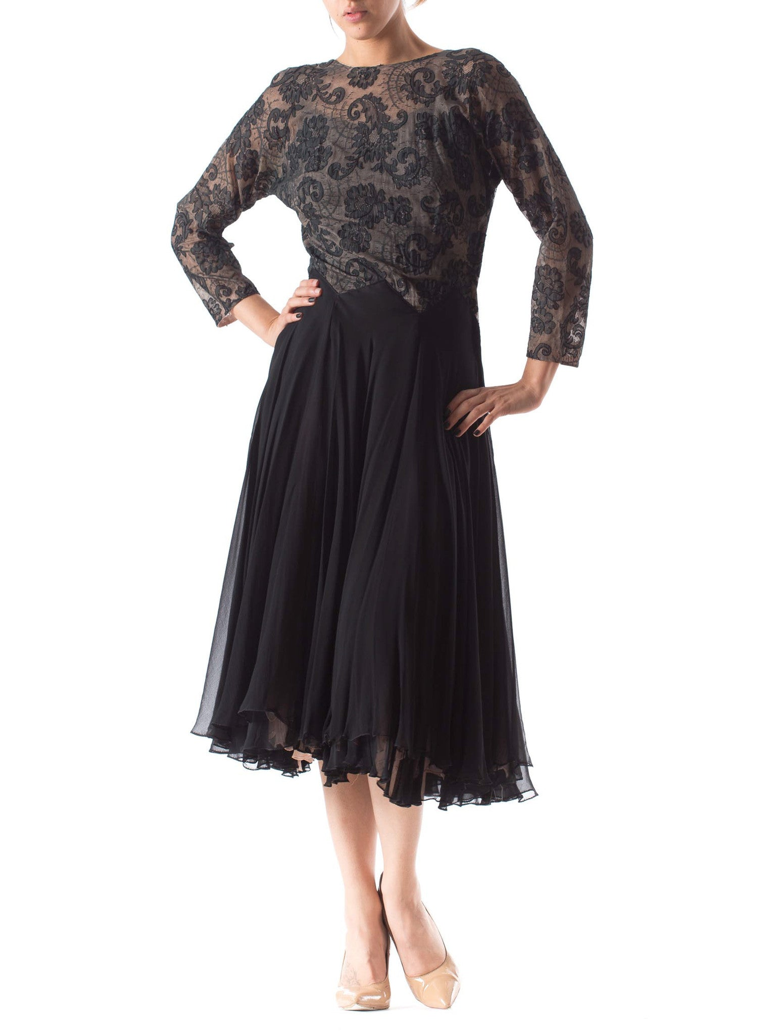 1940s Silk Lace and Chiffon Low Back Dress