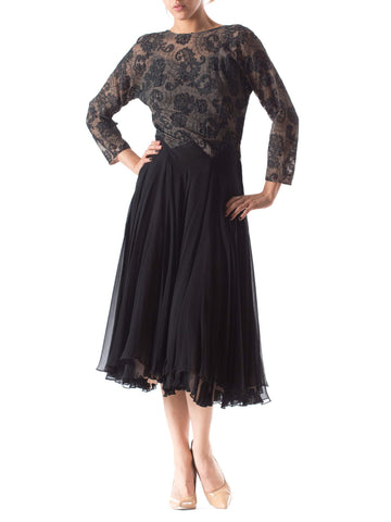 1940S Silk Chiffon & Fine Chantilly Lace Sleeved Cocktail Dress With Very Full Skirt