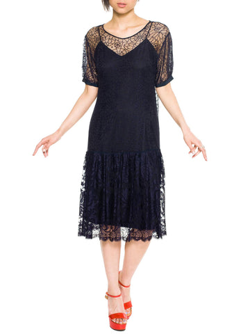1920s Art Deco Spiderweb Lace Dress